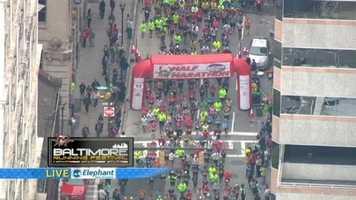 The half marathon waves get started around 9:45 a.m.