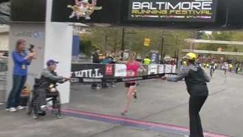 Perry as she crosses the finish line in just under three hours.