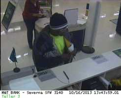 Anne Arundel County police are investigating a bank robbery in Severn.