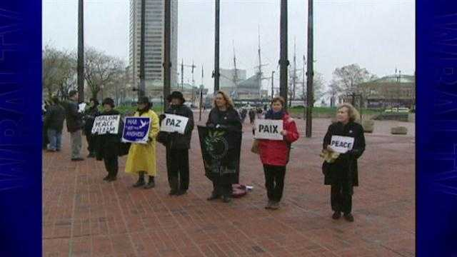 The Women in Black protest at the Inner Harbor in 2003.