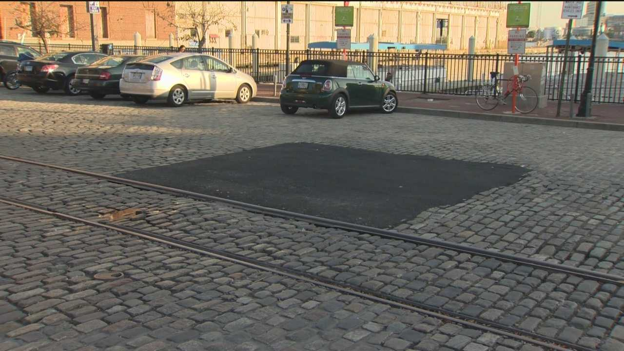 What the city calls a temporary fix to patch up a water leak, residents and business owners in Fells Point call it an eyesore.