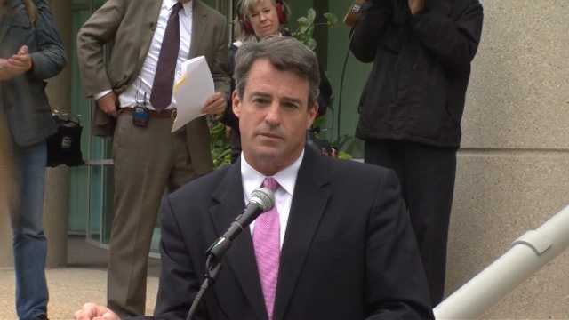 Maryland Attorney General Doug Gansler addresses the media.