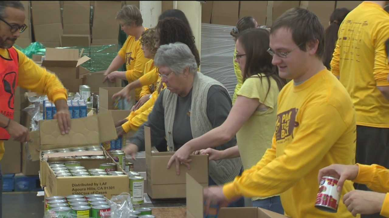 This year marks the fifth year for the Pack to Give Back initiative. In what has become a holiday tradition at the Maryland Food Bank, volunteers from local businesses pack all the ingredients for a Thanksgiving meal for those in need.