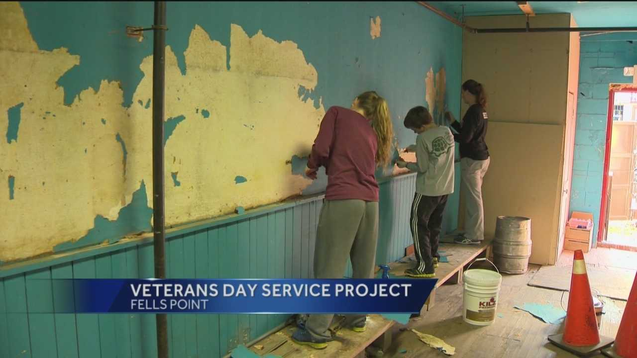 To celebrate Veteran's Day, The 6th Branch organized a large-scale cleanup of the historic American Legion Post 95 in Fells Point.