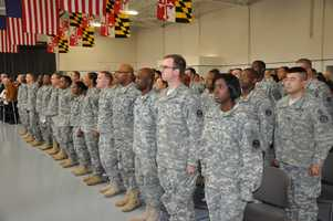 The Maryland Army National Guard hosts a Freedom Salute ceremony for more than 70 members of the Headquarters Detachment of the 115th Military Police Battalion in Salisbury on Sunday.