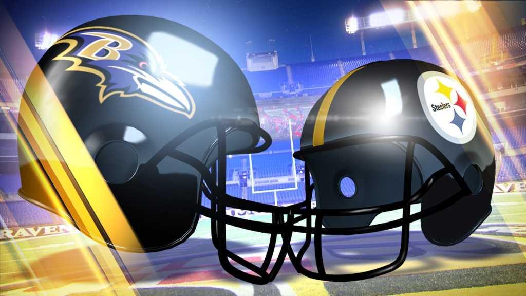 Ravens-Steelers helmets