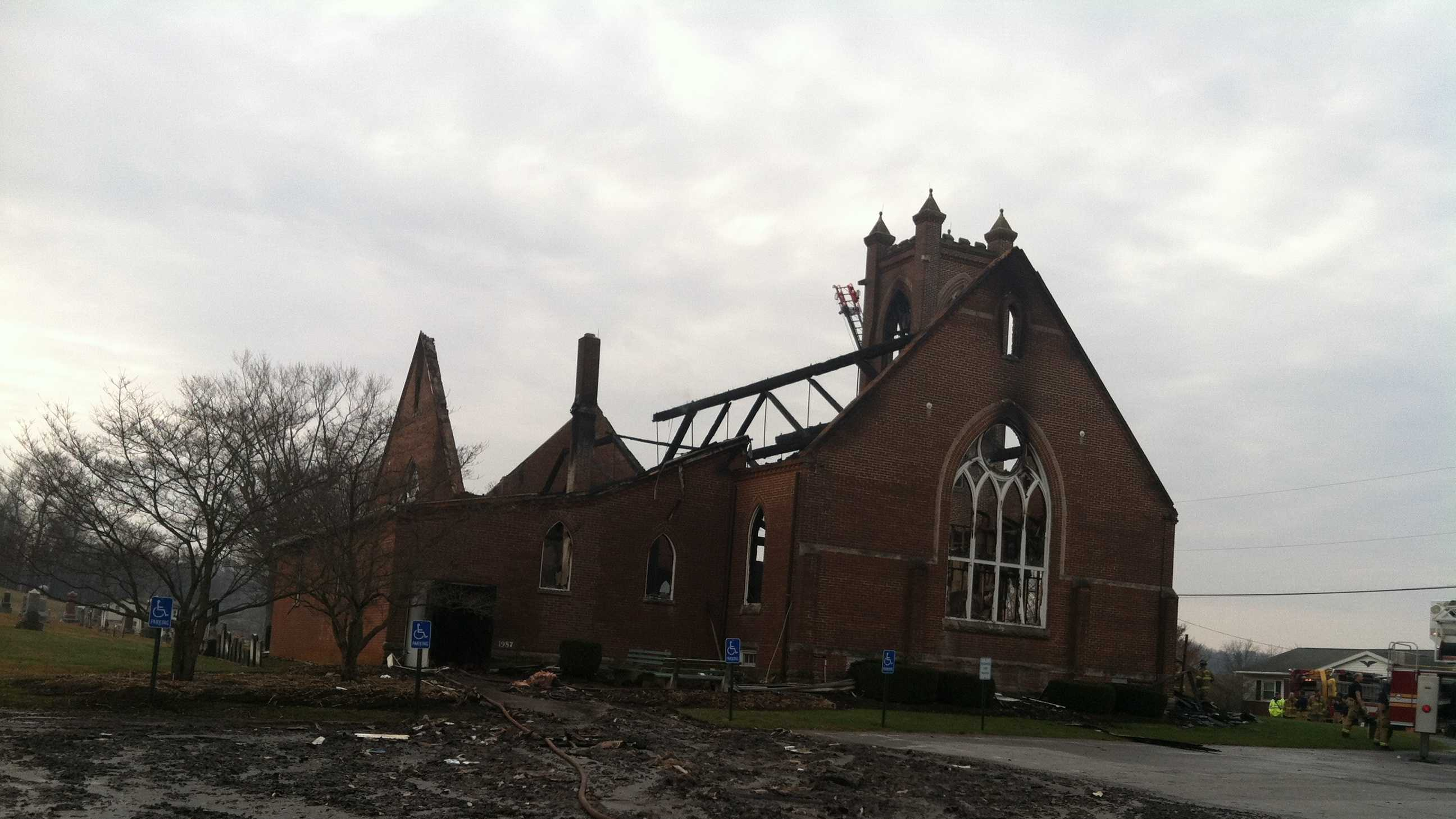 A two-alarm fire destroys a church in northern Carroll County along the Pennsylvania line.