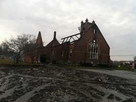 A two-alarm fire destroys a church in northern Carroll County along the Pennsylvania line.