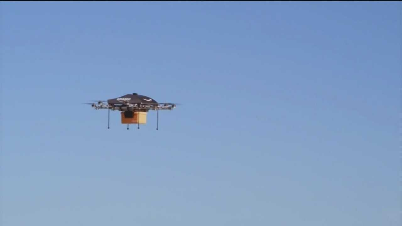 Amazon says it's working on a revolutionary delivery method using a computer-powered drone leaving a distribution center, like the one in Dundalk, to fly to a customer's home and drop off the package on the front porch within 30 minutes of ordering.