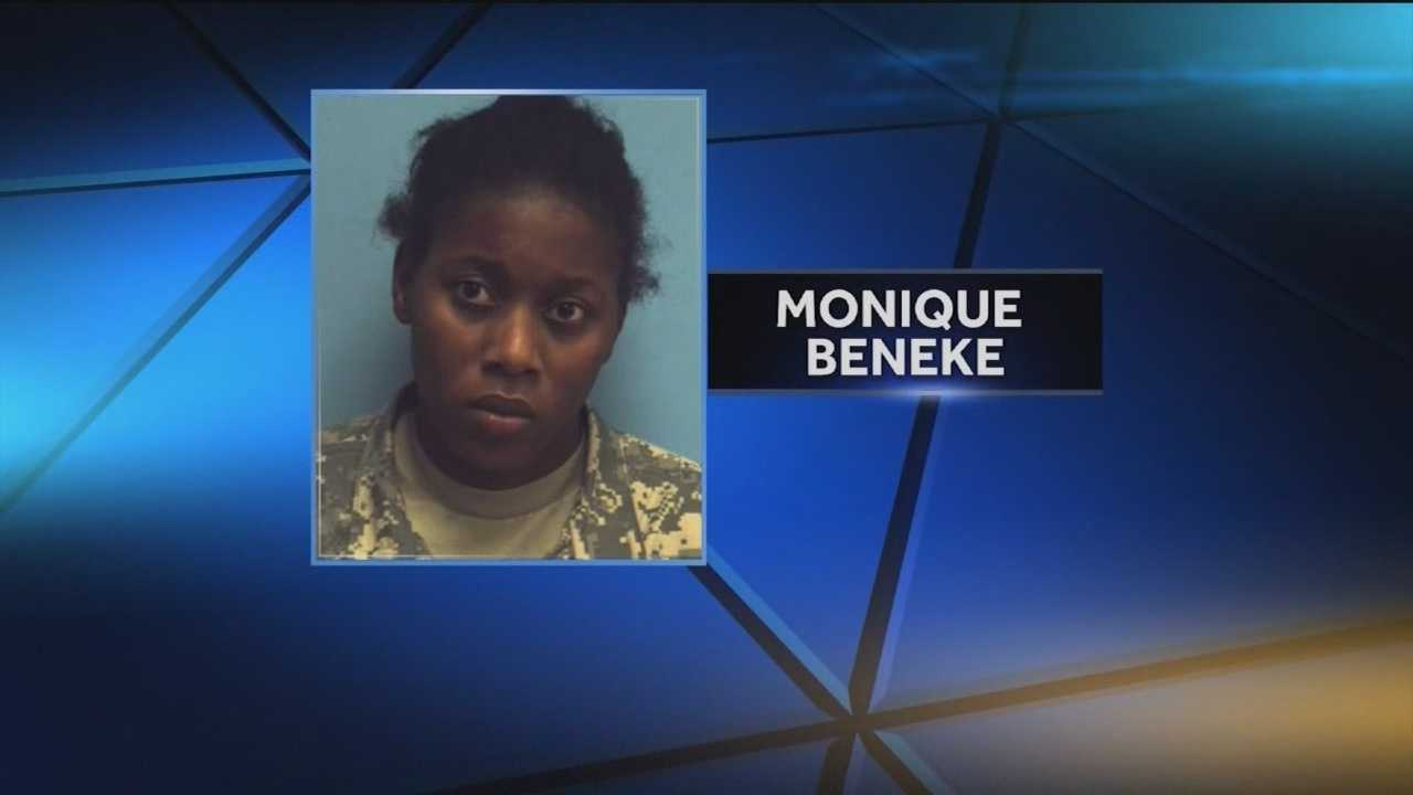 Authorities said Monique Latrise Beneke, 27, a soldier at Aberdeen Proving Ground, is facing charges in connection with abusing her 4-year-old stepdaughter.