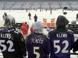 Die hard fans brave the weather at M&T Bank Stadium