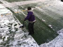 Snow shovels come out at M&T Bank Stadium