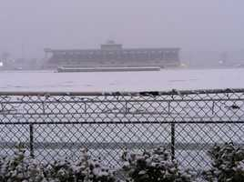 Snow at the Maryland State Fairgrounds in Timonium as of 7:30 a.m. Tuesday.
