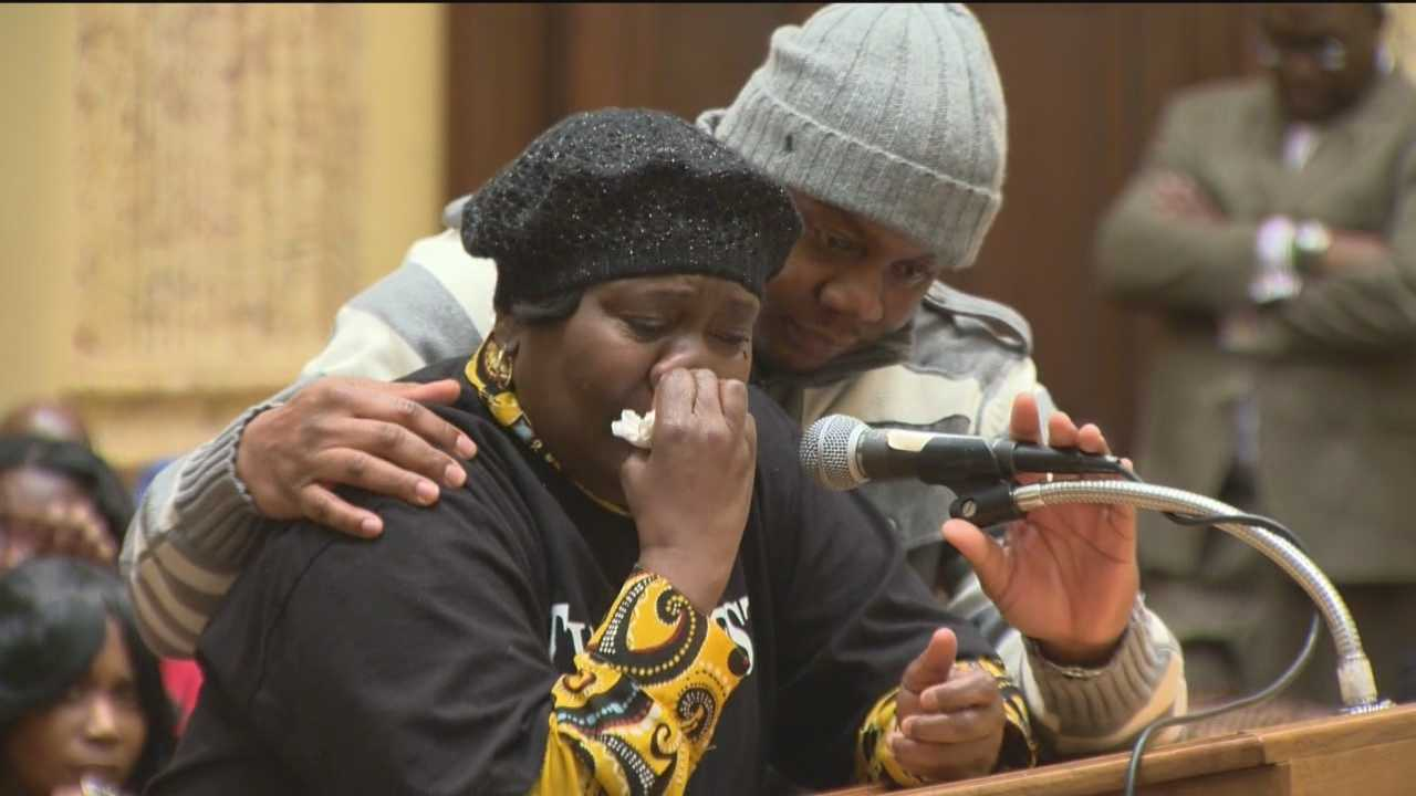 Tyrone West's mother sobs during a City Council hearing into his death.