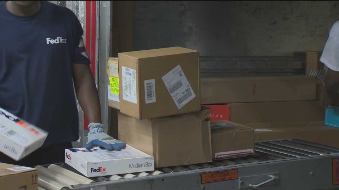 The FedEx warehouse in Linthicum Heights was hopping with activity, as Monday marks their busiest shipping day.