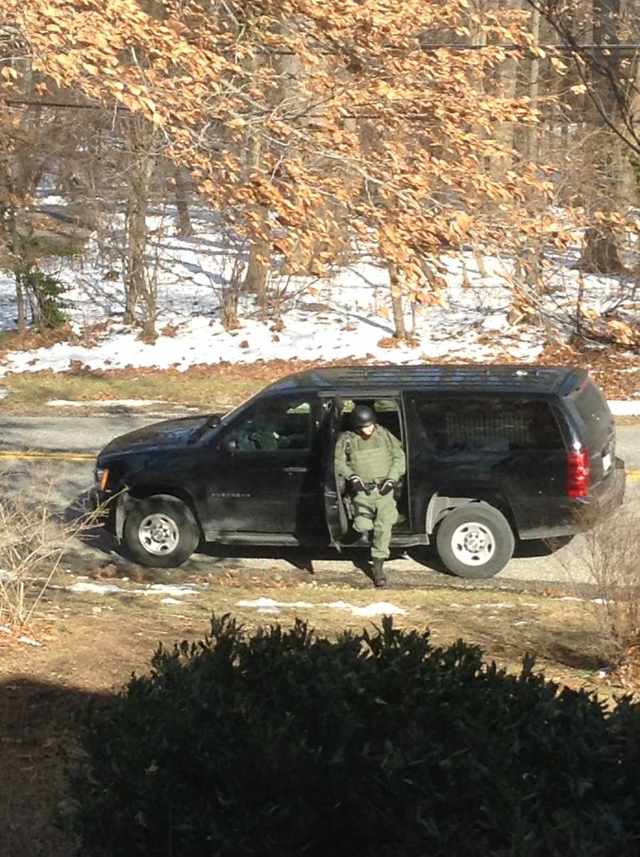 SWAT officers respond to a barricade situation in Towson.