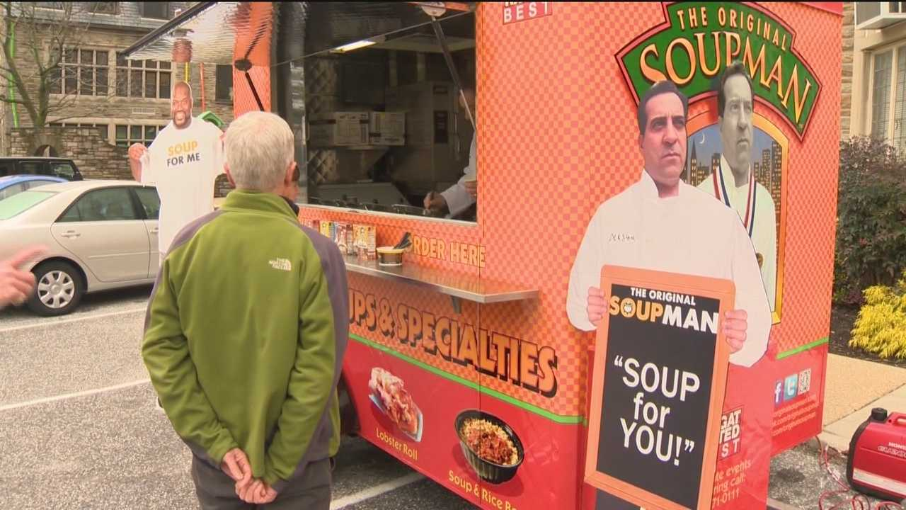 Part of a new traveling campaign by The Original Soupman, the soupmobile made a stop in east Baltimore on Monday as part of its Random Acts of Soupness Campaign, dishing out hot soup for folks at the GEDCO CARES Food Pantry.