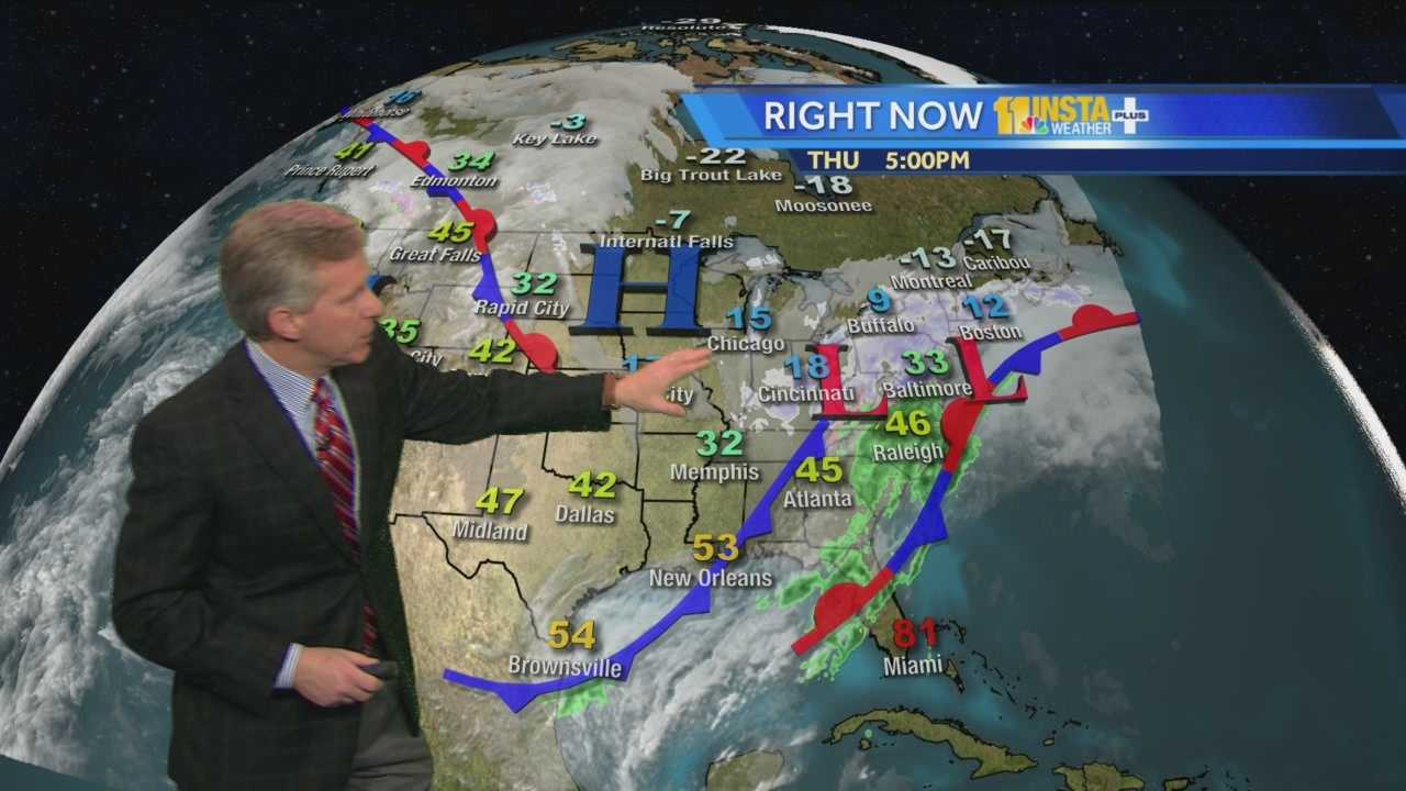 Chief Meteorologist Tom Tasselmyer shows how a snowstorm will move quickly through Maryland, leaving behind a couple inches of snow, followed by very cold temperatures.