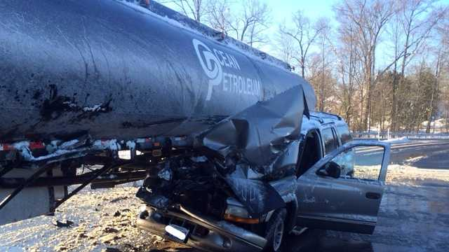 SUV vs tanker crash in Joppa