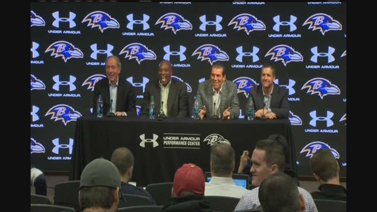 The Baltimore Ravens hold a press conference reviewing the 2013 season.
