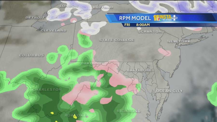 White: Snow | Pink: Wintry Mix | Green: Rain
