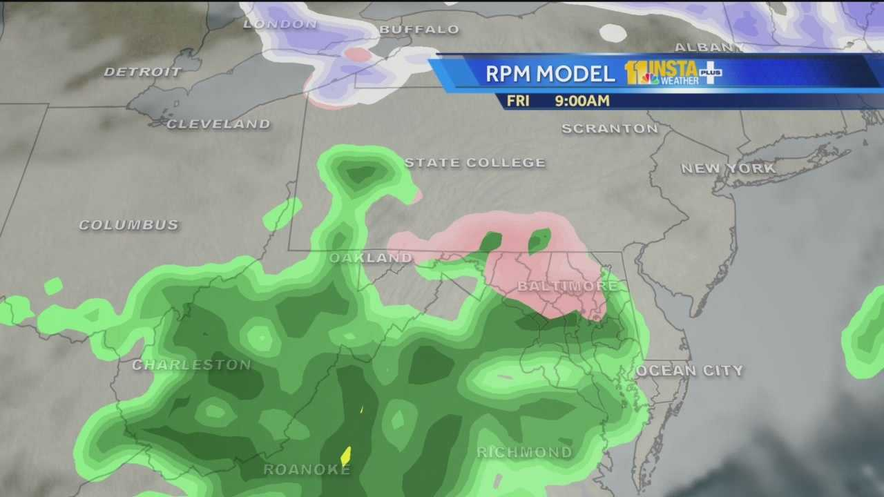 White: Snow | Pink: Wintry Mix | Green: Rain