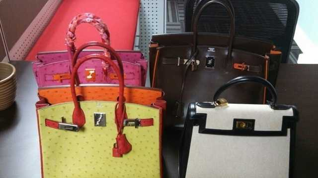 Four of the eight Hermes high-end handbags that police said were stolen in Texas.