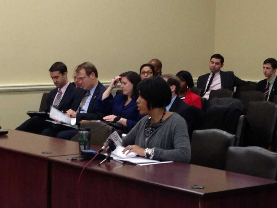 Jan. 17: Mayor Rawlings-Blake addresses the city delegation at an Annapolis hearing.