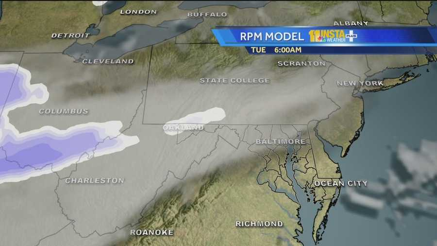 The heaviest snow is forecast to fall Tuesday afternoon as temperatures will drop into the teens behind the cold front.