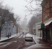 Maryland State House obscured by snow