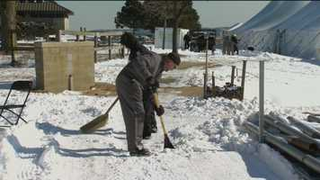 Preparing Sandy Point State Park for the Maryland State Police Polar Bear Plunge takes lots of work.