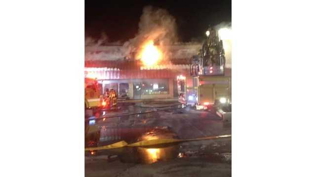 Firefighters battle a blaze at an Eldersburg strip mall