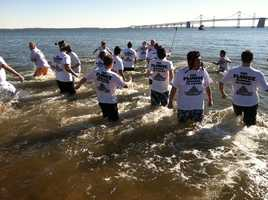 Here go the super plungers into the frigid waters.