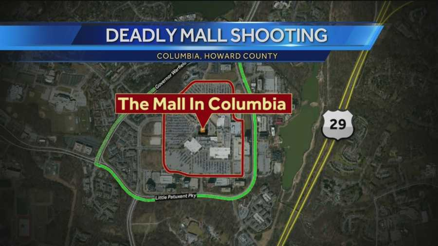 Police said Ring Road, the interior road highlighted in red, remains closed at because of the ongoing investigation. Little Patuxent and Governor Warfield parkways, the exterior roads surrounding the mall and highlighted in green were reopened.