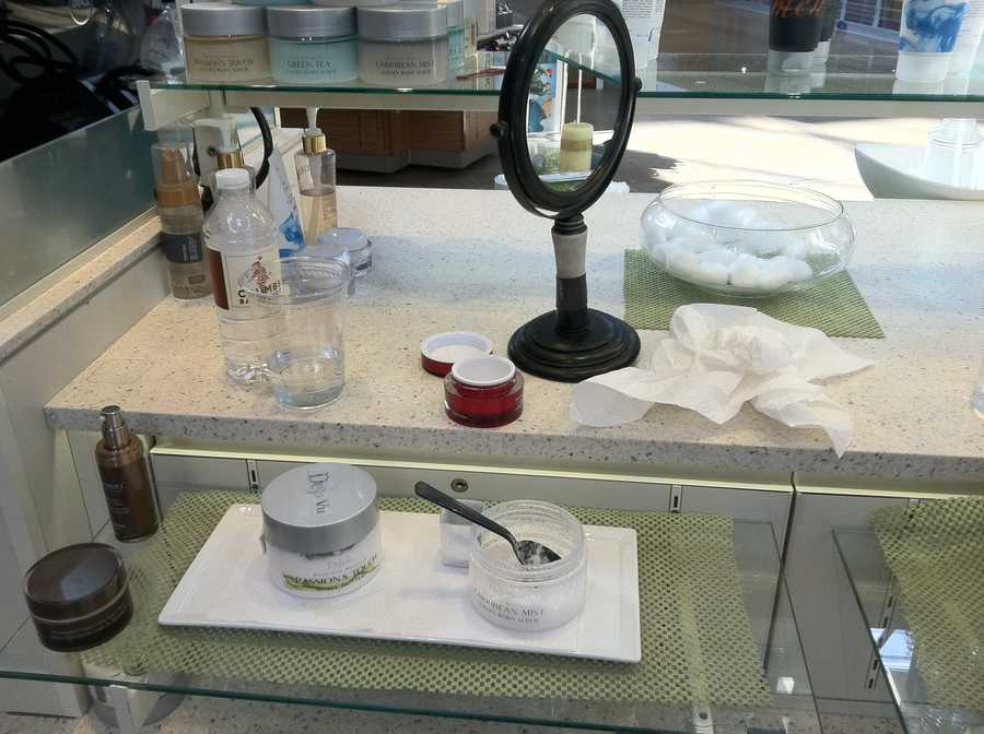 This is a kiosk at the Mall in Columbia that looked like this just a few hours before the mall reopened Monday. It appears the employees at the skin care kiosk ran for safety when they heard the shots and left everything behind.