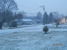 Rain and sleet switch to snow by 7 a.m. in Hampstead, Carroll County.