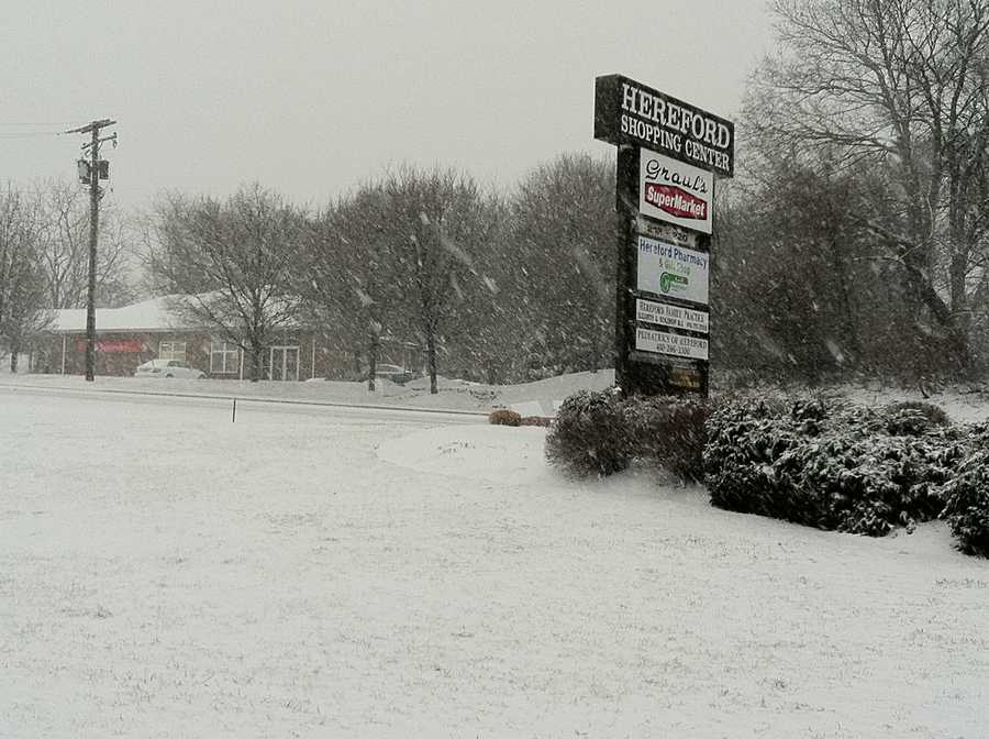 Heavy wet snow starts to gather on roads in the Hereford Zone.  Photo taken at 8:45 a.m. Monday.