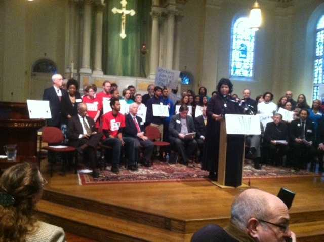 Feb. 3: A group of faith leaders and anti-poverty advocates spoke at a minimum wage rally, which the governor and the Baltimore mayor attended.