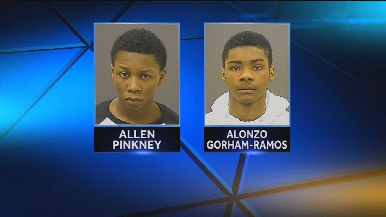 Baltimore police on Sunday arrested teens Allen Pinkney and Alonzo Gorham-Ramos on murder, first-degree conspiracy to commit murder, first-degree burglary and dangerous weapon with intent to injure charges.