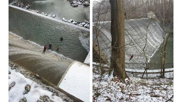Crews work to rescue a man who had gotten tangled in a rope at the Atkisson Dam in the Joppa area early Wednesday morning.