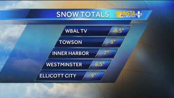 Snow totals at 4:30 a.m. Thursday