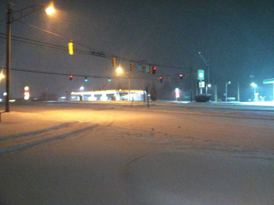 Route 40 at St. Johns Lane in Ellicott City at 5 a.m. Thursday.