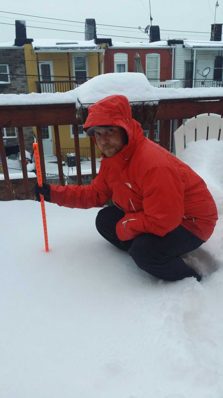 14 inches of snow measured on a two-story deck in Canton before the rain began.