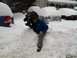 WBAL-TV photographer Bobby Moore covering the snow storm.