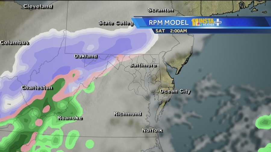 This computer model shows the clipper storm that's forecast to move through Maryland overnight into Saturday morning.
