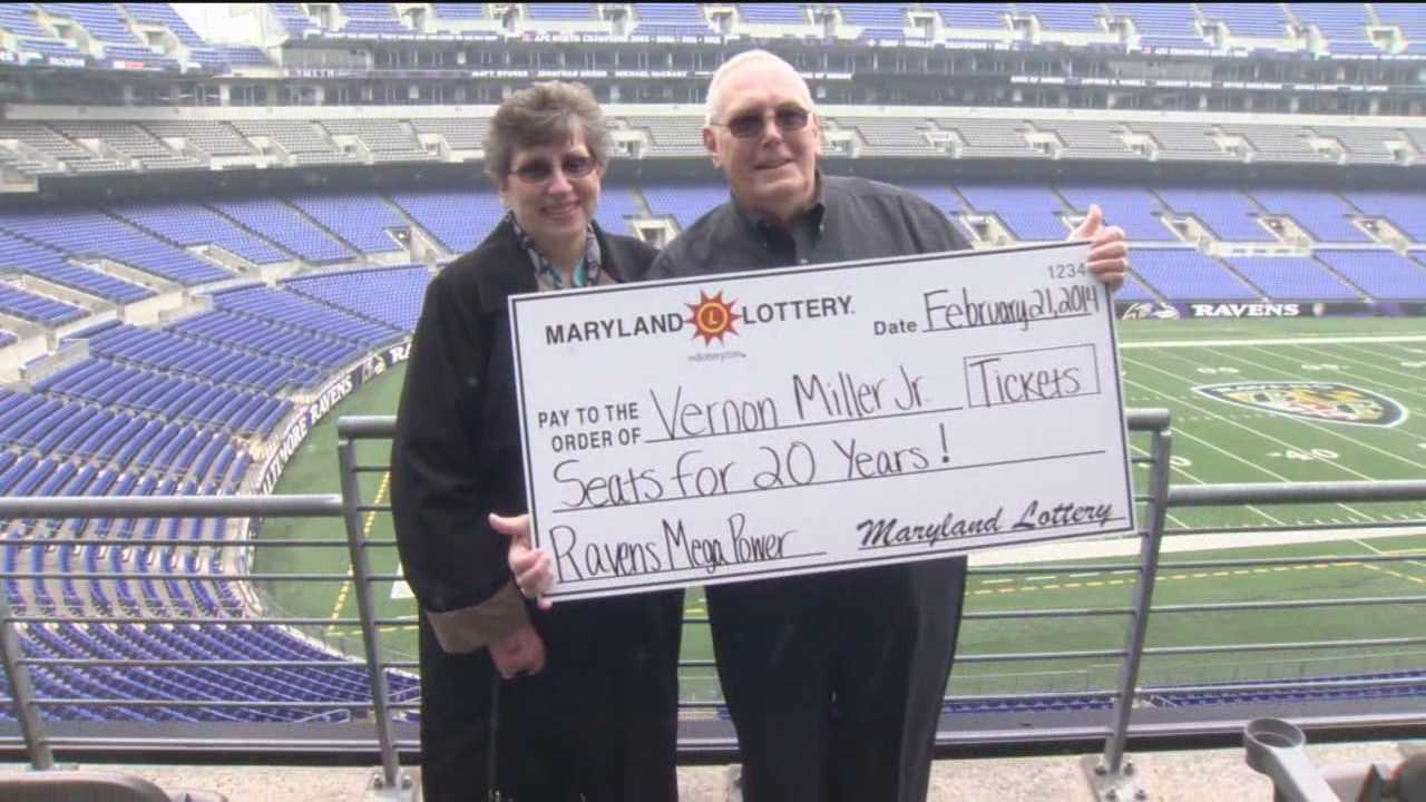 "Vernon Miller Jr., of Bel Air, won the Ravens ""Seats for 20 Years"" prize, which includes two club-level tickets to every preseason and regular season game, along with parking."