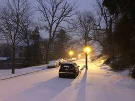 Snow in northeast Baltimore early Monday morning.