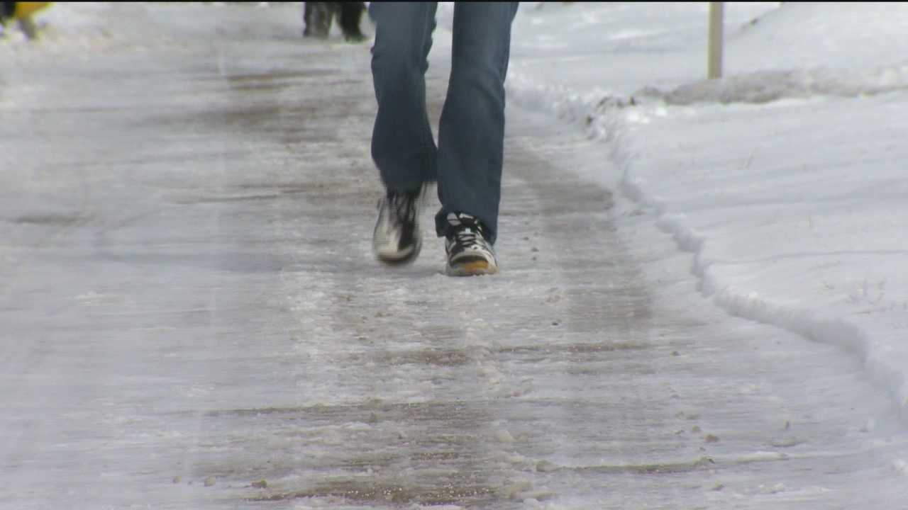 There are snowy, slushy sidewalks around the campus of the University of Maryland, Baltimore County. University officials put out a note Tuesday for students to be extra careful.