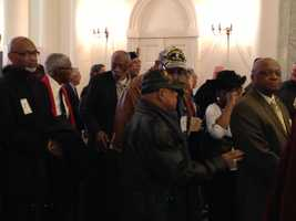 March 5: Vietnam War veterans line up at the State House to be honored by the House of Delegates.