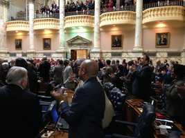 March 5: The vets received a thunderous round of applause during the House ceremony.